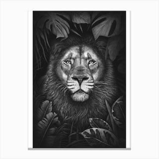 Lion In Tropical Leaves Canvas Print