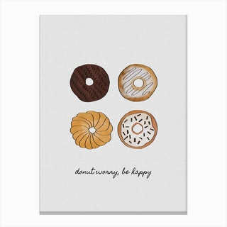 Donut Worry, Be Happy Canvas Print