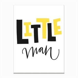 Little Man Yellow and Black Canvas Print