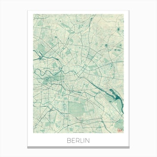Berlin Map Vintage in Blue Canvas Print