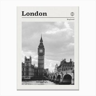 London England Black And White Canvas Print