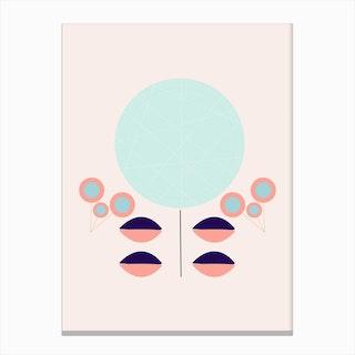 Retro Round Flower Composition Canvas Print