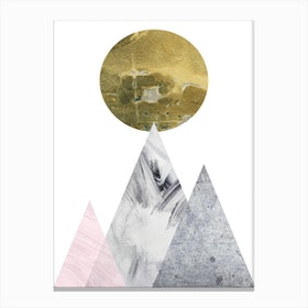 Large Gold Moon With Pink and Grey Mountains Canvas Print