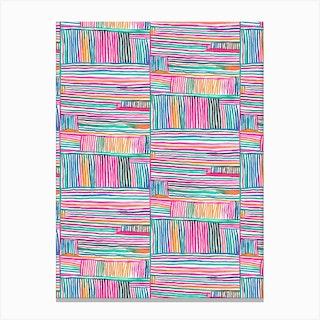 Watercolor Linear Meditation Pink Canvas Print