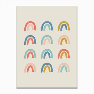 Rainbow Grid Canvas Print