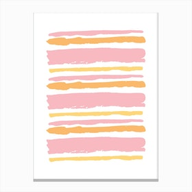 Pink and Orange Abstract Stripes Canvas Print