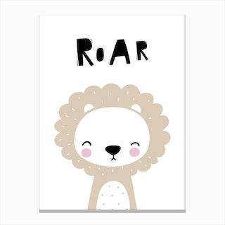 Scandi Roar Beige Lion Canvas Print