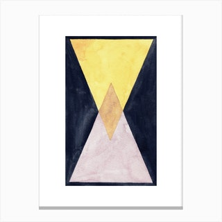 Pink And Gold Triangles Canvas Print