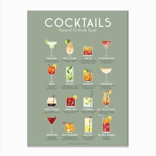 Essential Cocktails Guide Canvas Print