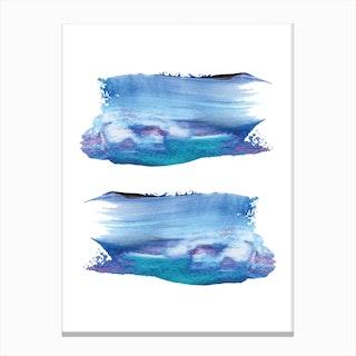 Realistic Blue Purple Paint Strokes Canvas Print