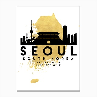 Seoul South Korea Silhouette City Skyline Map Canvas Print