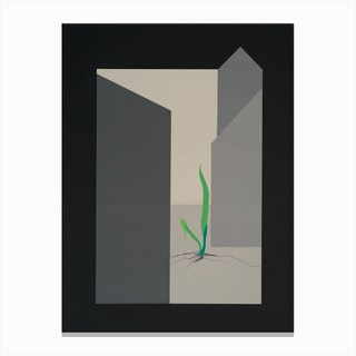 Nature Defies Concrete Environment. Green Gras. Canvas Print