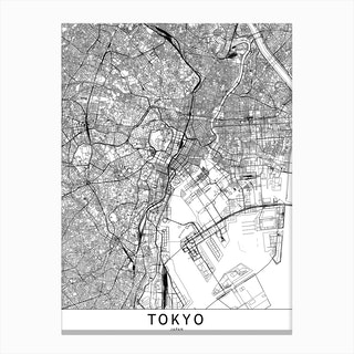 Tokyo White Map Canvas Print