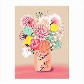 Bouquet In Bird Vase Canvas Print