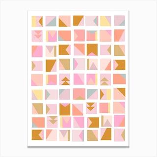Mini Blocks In Pink Canvas Print