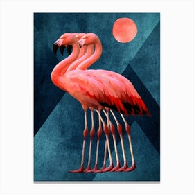 Four Flamingos At Midnight Canvas Print
