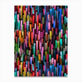 Colorful Brushstrokes Black Canvas Print