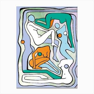 Ecstatic Nudes 6 Green Canvas Print