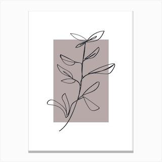 Flowers Line Art One Canvas Print