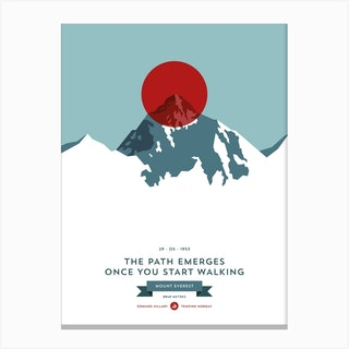 Mountains Illustrated Mount Everest Red Circle Canvas Print