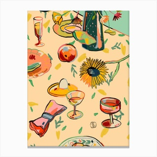 Cocktails In The Garden Canvas Print