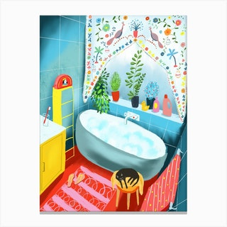 Bathroom Kitten Canvas Print