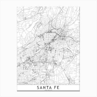 Santa Fe White Map Canvas Print