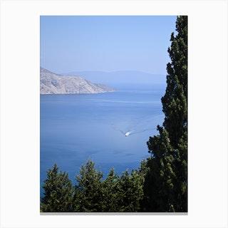 Greece Sea Boat 2 Canvas Print