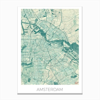 Amsterdam Map Vintage in Blue Canvas Print