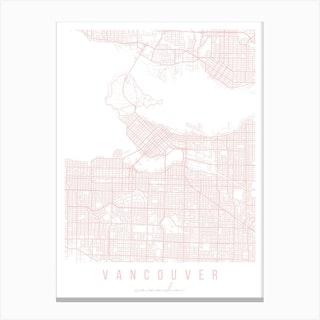 Vancouver Canada Light Pink Minimal Street Map Canvas Print