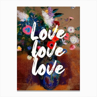 Love Love Love Floral Typography Canvas Print