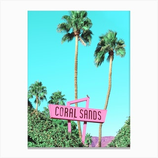 Vintage Coral Sands Motel Sign In Palm Springs Canvas Print
