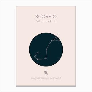 Scorpio Star Sign In Light Canvas Print