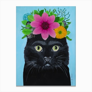 Frida Kahlo Black Cat Canvas Print