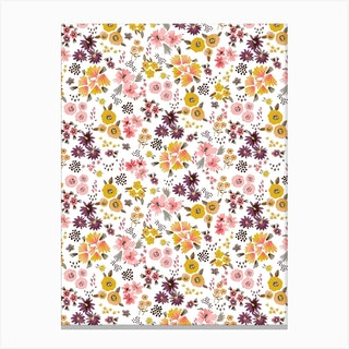 Little Flowers Mustard Coral Canvas Print