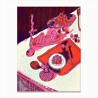 Crystal Meal Hot Pink Canvas Print