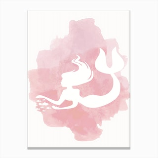 Mermaid Watercolour in Pink Canvas Print