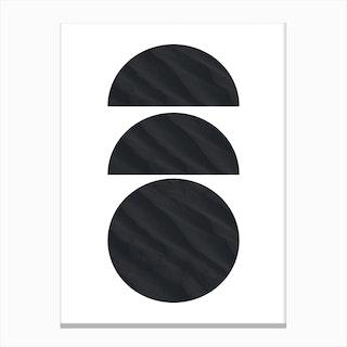 Three Black Half and Full Circles Abstract Canvas Print