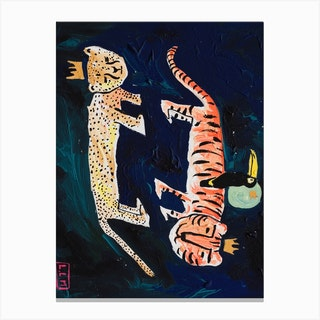 Cheetah Tiger Toucan In The Night Sky Canvas Print