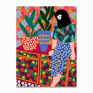 Hawaiian Girl On A Balcony Canvas Print