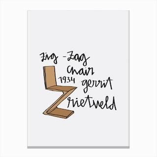 Zig Zag Rietveld Chair Canvas Print