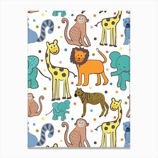 Giraffe Zebra Lion Canvas Print