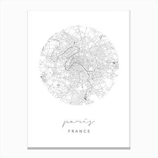 Paris France Circle Map Canvas Print