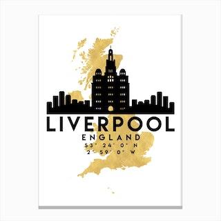 Liverpool England Silhouette City Skyline Map Canvas Print
