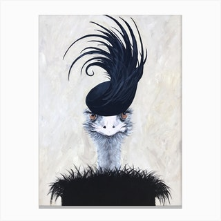 Ostrich With Feather Hat Canvas Print