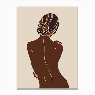 Girl With Bun Backview Black Dark Hair Canvas Print