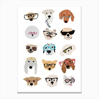 Dogs With Glasses Canvas Print