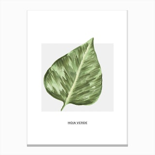 Green Leaf & Grey Box Canvas Print