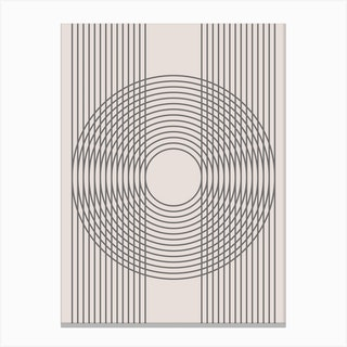 Abstract Multiline Circle Neutral Canvas Print