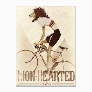 Lion Hearted Vintage Style Cyclist Canvas Print